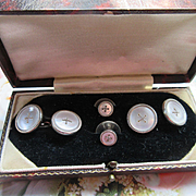 Older Vintage Mother of Pearl Cufflink Tuxedo Button Set (Original Box)