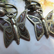 Vintage Abalone Butterfly Screw Back Earrings