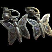 Vintage Abalone Butterfly Screw Back Earrings