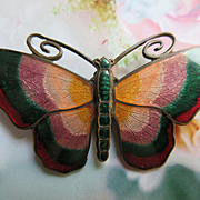 Older Vintage Enameled Brass Butterfly Pin