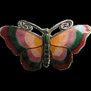 Older Vintage Enameled Brass Butterfly Pin