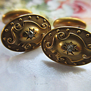 Victorian Antique 14k Diamond Cuff Links  Gold Repousse Cufflinks