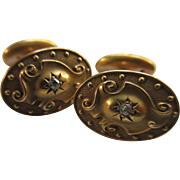 Victorian Antique 14k Diamond Cuff Links  Gold Repousse Cufflinks