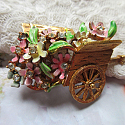 Vintage BSK Enameled Flower Basket Cart Pin   My Fair Lady