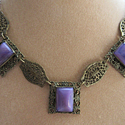 Vintage Deco 30s Filigree Purple Art Glass Necklace