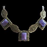 Vintage Deco 30s Filigree Purple Art Glass Necklace