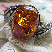 Vintage Sterling Amber Bangle Bracelet Hallmarked