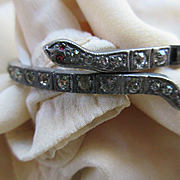 Vintage Deco 1920s Wrap Paste Snake Serpent Bracelet