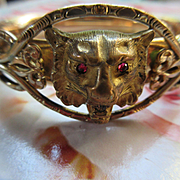 Victorian Bangle Bracelet with Lions Head and Scroll Embellishments in Gold Fill