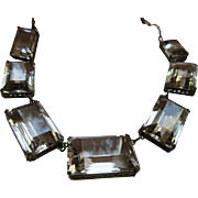 Vintagw Deco 1930s Silver Open Back Crystal Necklace