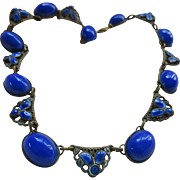 Vintage 20s 30s Czech Enameled Blue Necklace