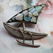 Vintage Sterling Sailboat Pin  Lucite Opal Sail