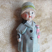 Vintage circa 1930 Bisque Little Girl Nodder Doll Japan