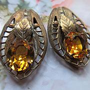 Vintage Pair of Amber Crystal Clips