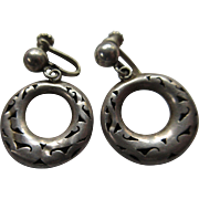 Sterling Mexican Screw Back Hoops Eagle Mark 3