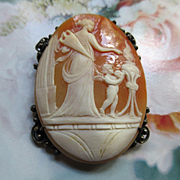 Vintage Silver Cameo Pin Pendant