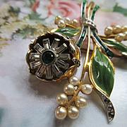 Vintage Deco 30s Enameled Trembler Brooch