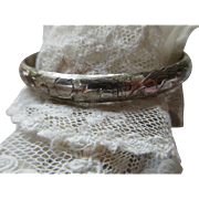 Vintage Sterling Chased Bangle Bracelet