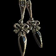 Vintage Sterling Marcasite Pierced Earrings