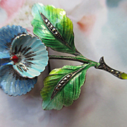 Vintage Sterling Germany Enameled Marcasite Pansy Pin
