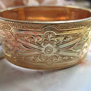 Victorian Chased Wide Gold Fill Bangle Bracelet H & B Hallmark Pat. 1874