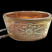 Victorian Chased Wide Gold Fill Bangle Bracelet H & B Hallmark Pat. 1874