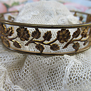 Vintage Open Work Floral Bangle Bracelet