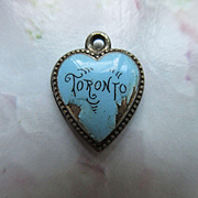 Victorian Sterling Enameled Puffy Heart Charm Toronto