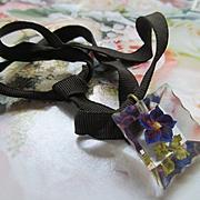 Vintage Reverse Carved Floral Lucite Necklace