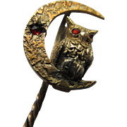 Antique Owl and Crescent Moon Stick Pin in Gold Fill