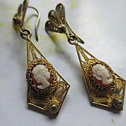 Vintage Deco 800 Silver Gilt Pierced Cameo Earrings