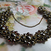Antique Bohemian Garnet Bracelet  Rose Cut Garnets