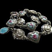 Vintage Enameled Roses For Mary Saints Bracelet Religious Medal Charms