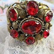 Vintage Czech Style 30s Jeweled Bangle Bracelet