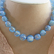 Vintage Art Deco Blue Opaline Art Glass Beaded Necklace