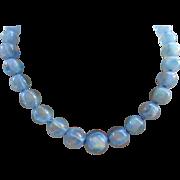 Vintage Art Deco Blue Opaline Art Glass Beaded Necklace