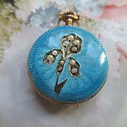 Vintage Deco 20s 800 Silver Enameled Seed Pearl Watch Iris Embellishment