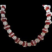 Art Deco Carnelian and Rock Quartz Crystal Necklace
