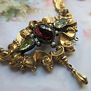 Victorian 10K Garnet Seed Pearl and Paste Necklace