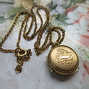Victorian Tiny Locket Necklace in Gold Fill