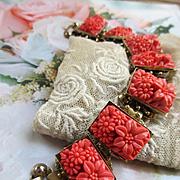 Vintage Molded Faux Coral Glass Flowers Bracelet