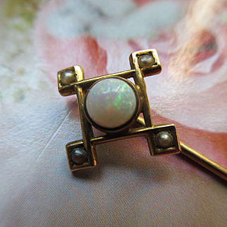 Antique Victorian 10K Opal and Seed Pearl Stick Pin in Original Velvet Box