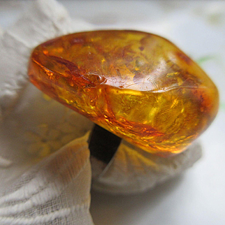 Vintage Deco 1920s Natural Amber Silver Ring