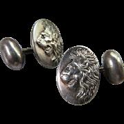 Antique Sterling Lion Cuff Links Cufflinks