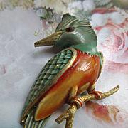 Vintage JJ Enameled Bird Pin