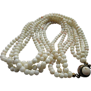 Antique Four Strand Angel Skin Coral Necklace