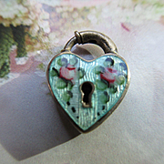 Vintage Enameled Sterling Walter Lampl Heart Padlock Charm