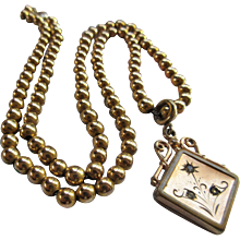 Antique Long Fob Necklace Gold Fill Beaded Necklace