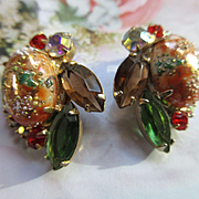 Vintage Juliana D&E Easter Egg Clip On Earrings