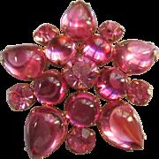 Vintage Unsigned Pink Brooch